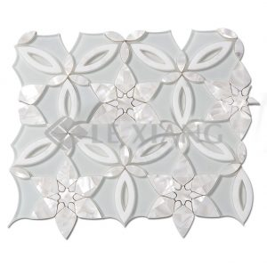 Spring Blossoms Water Jet Cut Stone Mosaic Tile For Kitchen Backsplash-1
