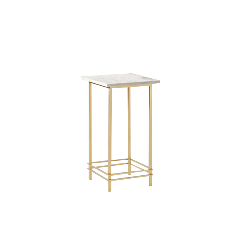 White Marble Arabesque Side Table: Square Marble Side Table With Gold Legs