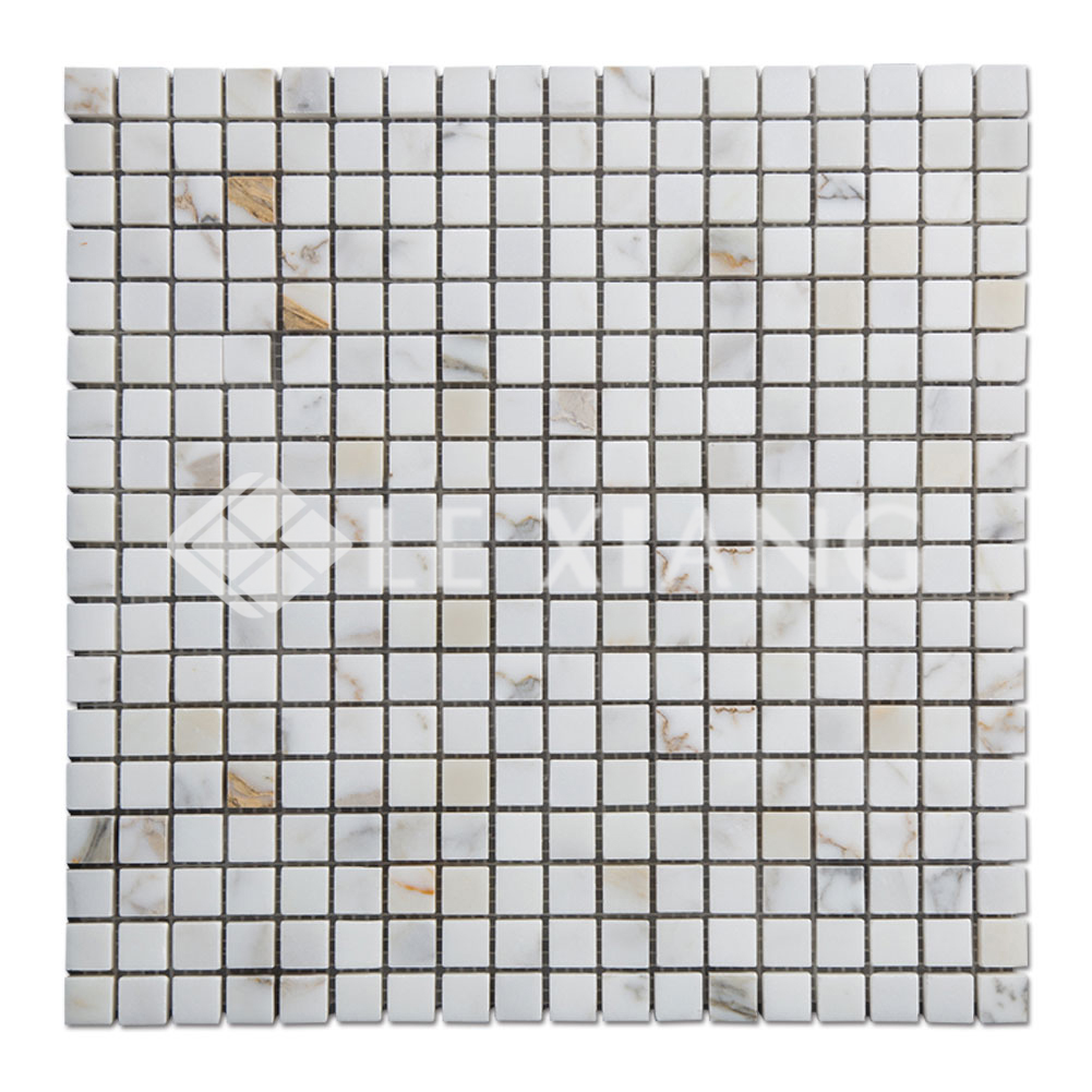 Square Stone Mosaic Tile Calacatta Gold Marble For Kitchen