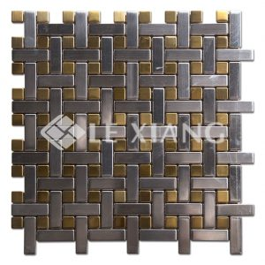 Stainless Steel Basketweave Mosaic Tiles For Bathroom Floors-1