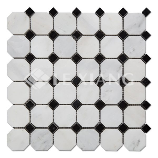 Statuary White Marble Octagon Mosaic Tile For Bathroom Floors-1