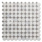 Statuary White Marble Octagon Mosaic Tile For Bathroom Floors-2