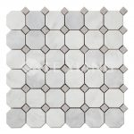 Statuary White Marble Octagon Mosaic Tile For Bathroom Floors-3