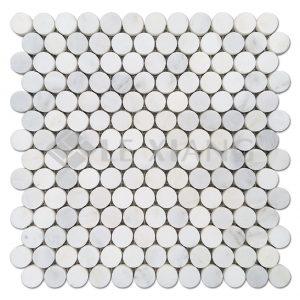 Statuary White Penny Round Marble Mosaic Tile For Bathroom Wall-3