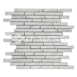 Strip Bianco Carraca Marble Mosaic Tile-1