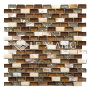 Strip Blends Stone And Glass Mosaics Tile For Bathroom Wall-1