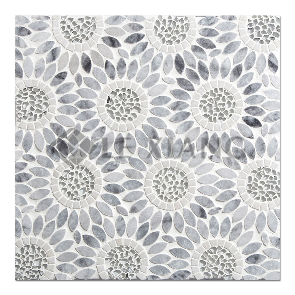 Sunflower Waterjet Cut Stone Mosaic Tile For Kitchen