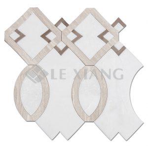 Swan Lake Water Jet Cut Marble Mosaic Tiles For Kitchen Backsplash-1