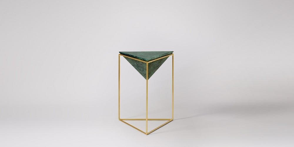 Triangle White Marble Side Table