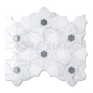 Water Jet Cut Marble Mosaic Kitchen Backsplash Tile-1