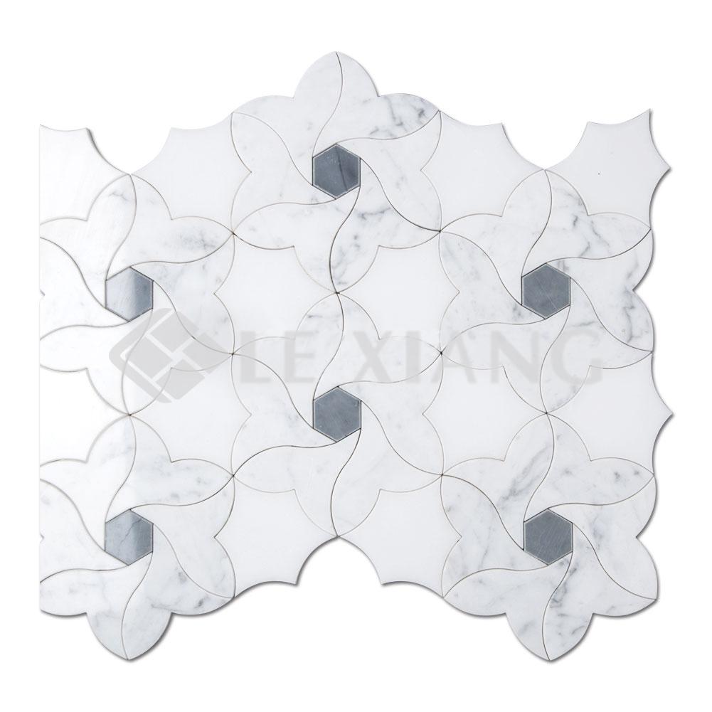 Water Jet Cut Marble Mosaic Kitchen Backsplash Tile