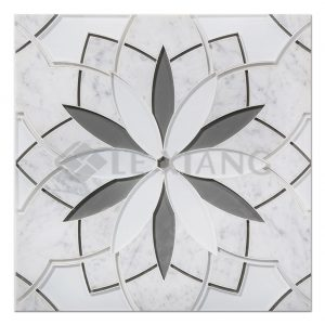 Water Jet Cut Marble Mosaic Stone Tile Daisy For Bathroom Wall Tile-4