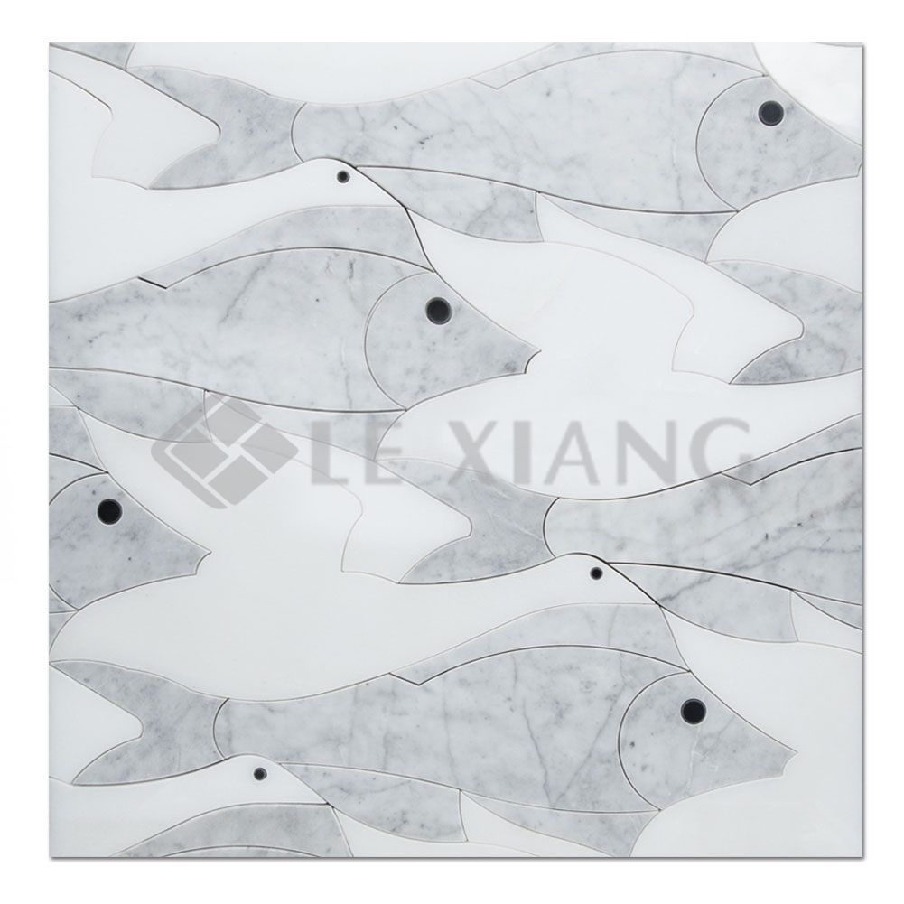 - Waterworks Tile Stone Mosaic Tile Flying Fish For Bothroom Wall