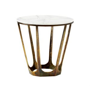 White Retro Marble Side Table-2