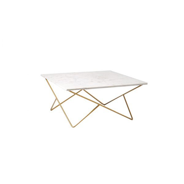 White Square Marble Top Coffee Table-5