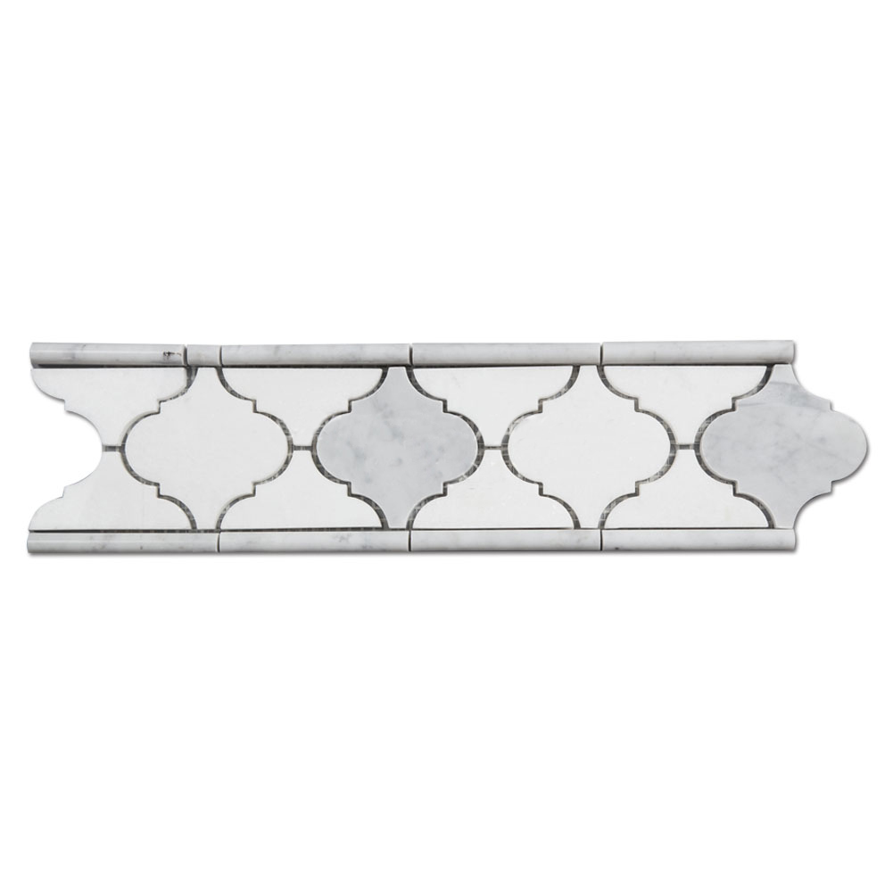 White Marble Arabesque Side Table: White Thassos Arabesque Marble Border Mosaic Tile For