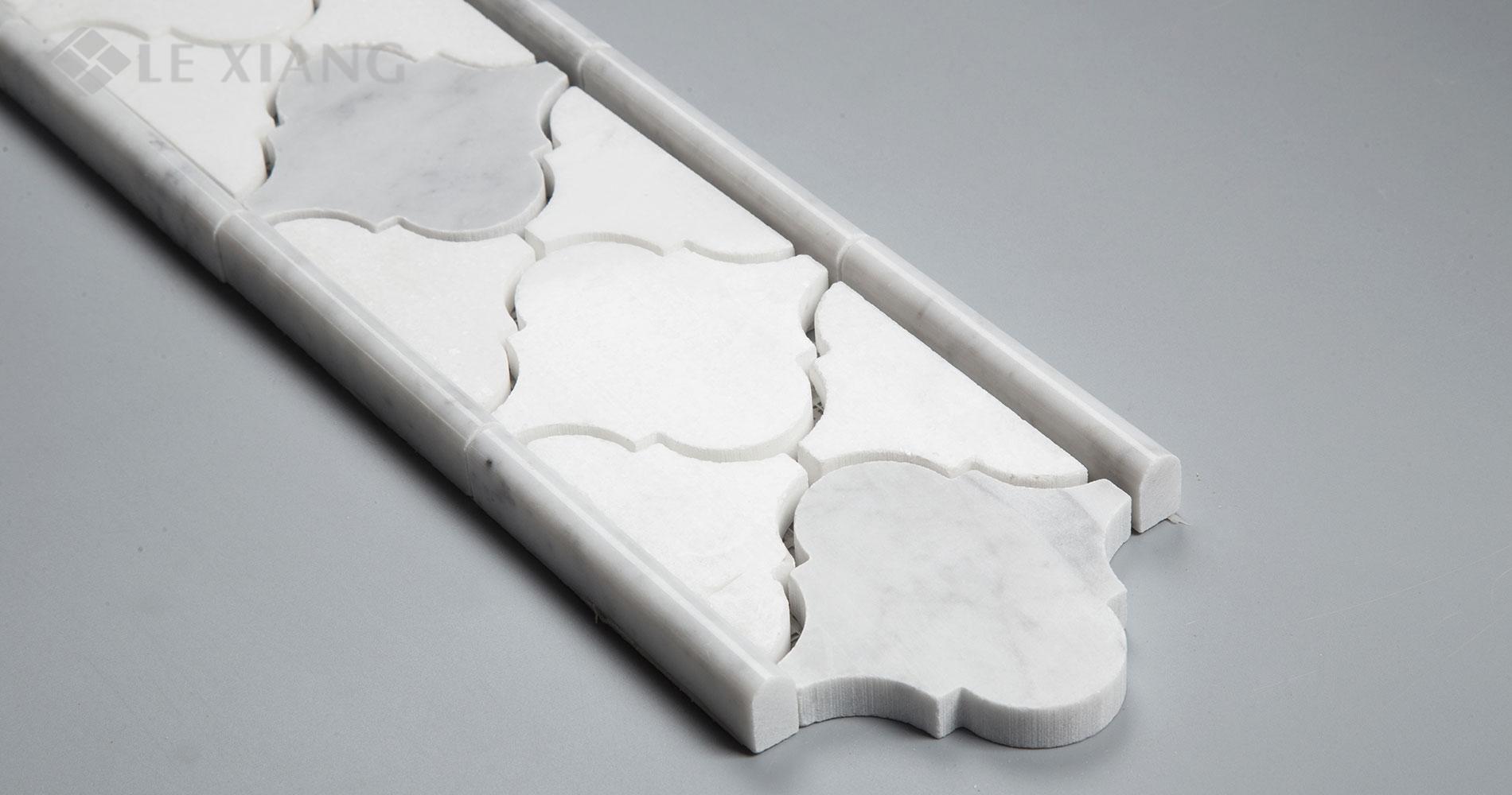 White Thassos Arabesque Marble Border Mosaic Tile For