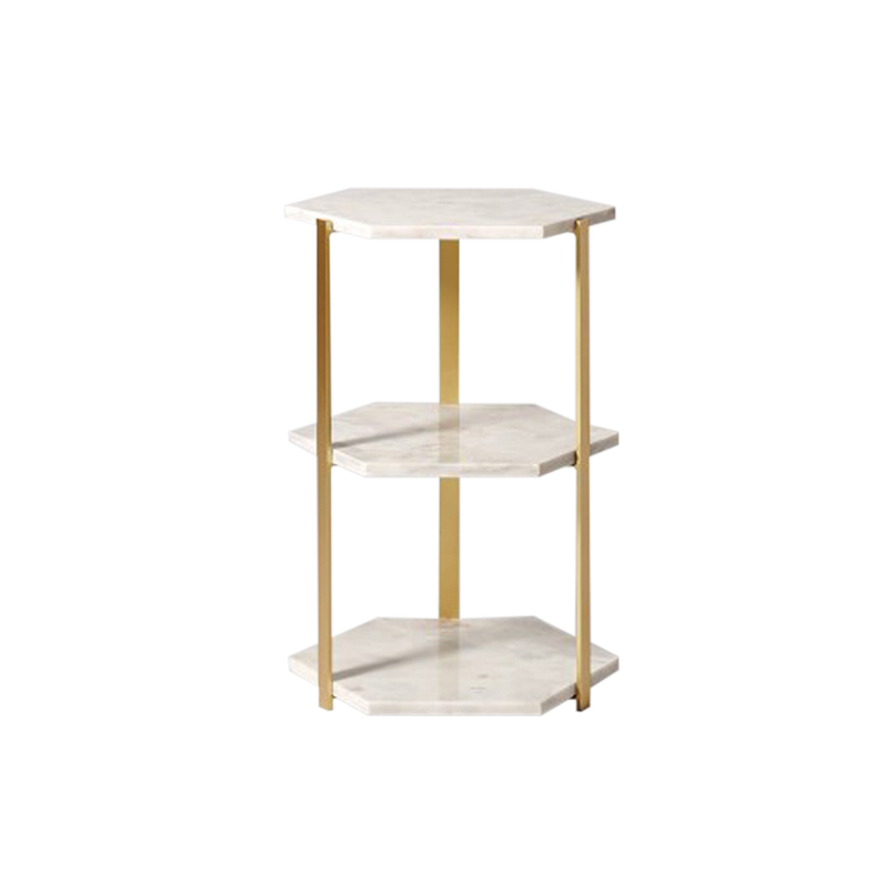 White Triple Hexagon Marble Side Table-2