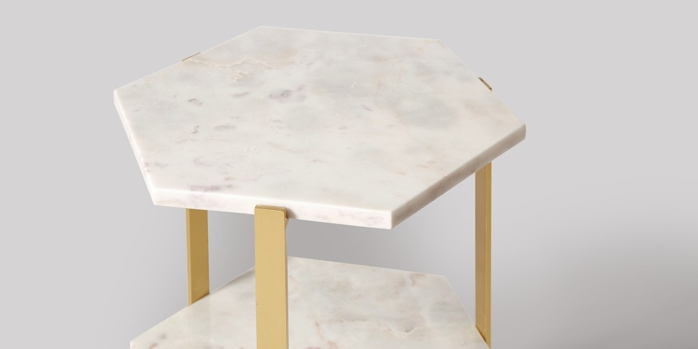 White Triple Hexagon Marble Side Table - Hexagon marble coffee table
