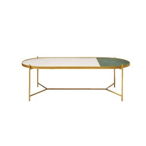 White With Green Oval Marble Top Coffee Table-1