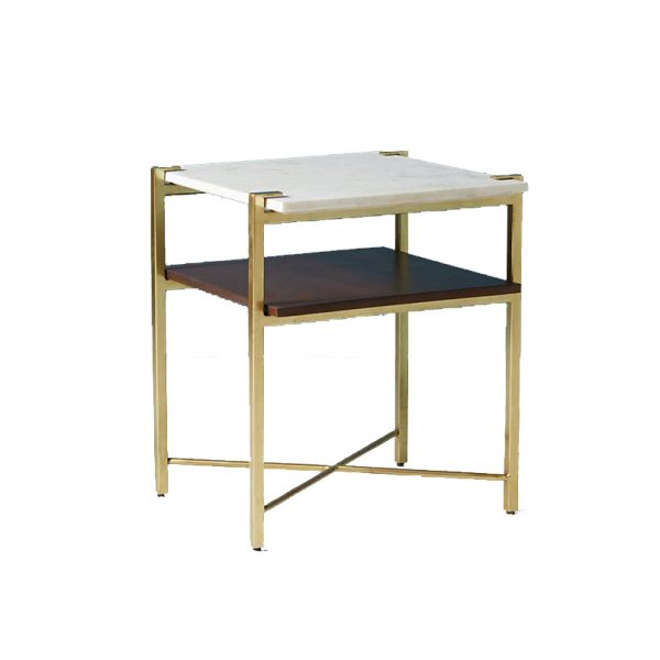 Bistratal Square Marble Top Side Table-2