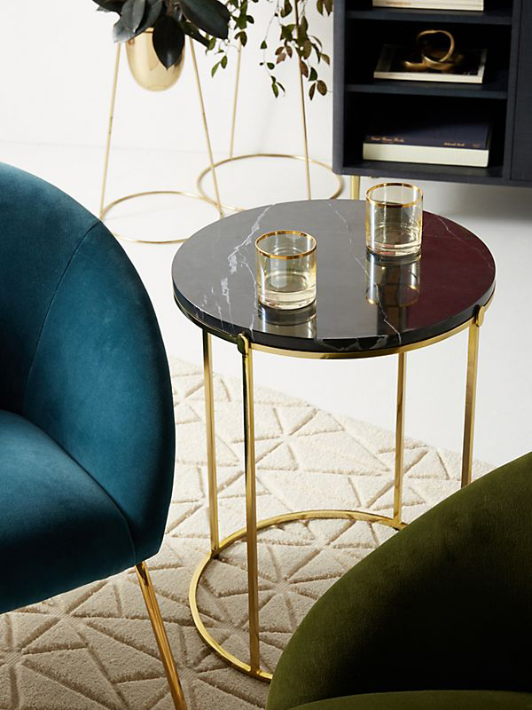 Black Round Marble Top Side Table-1