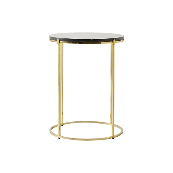 Black Round Marble Top Side Table-2