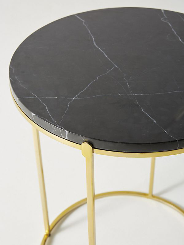 Black Round Marble Top Side Table-3