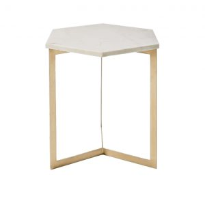 Hexagon Marble Top Side Table Brass Legs-1