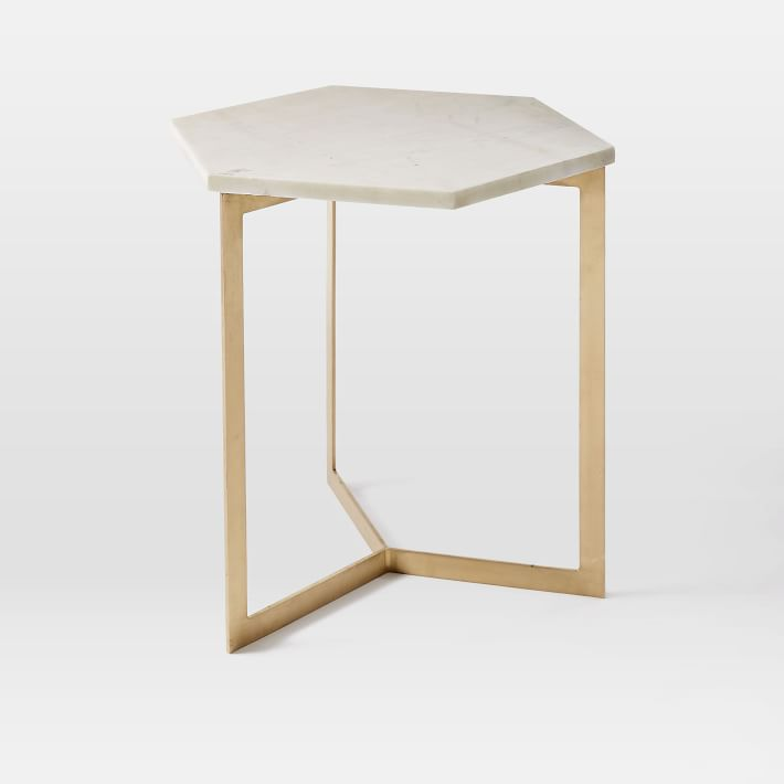 Hexagon Marble Top Side Table Brass Legs
