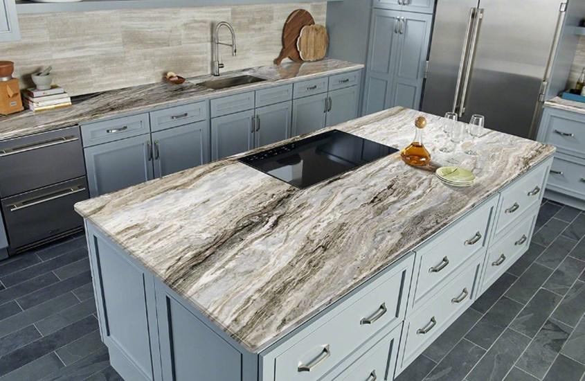 Indian Fantasy Brown Marble Kitchen Vanity Tops-4