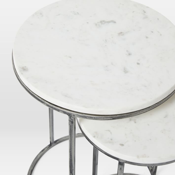 Nesting Round Marble Side Table Set-1