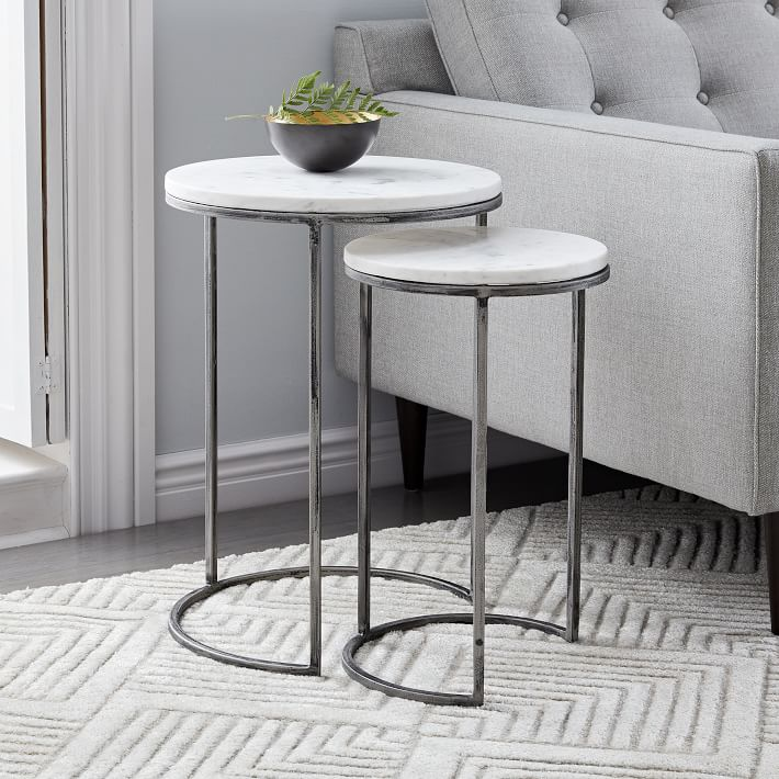 Nesting Round Marble Side Table Set-10
