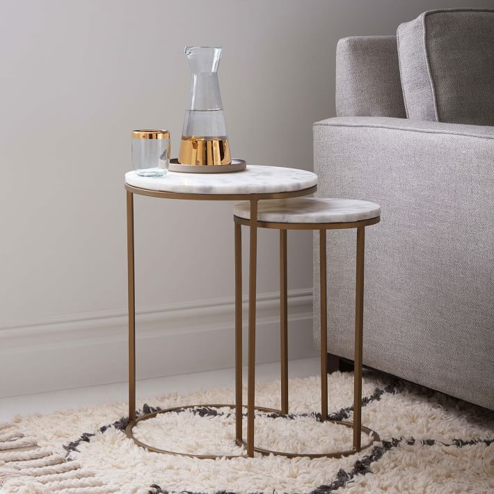 Nesting Round Marble Side Table Set-3