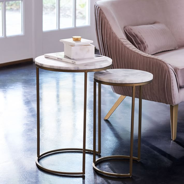 Nesting Round Marble Side Table Set-5