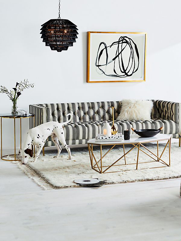 Octagon White Marble Top Coffee Table-3