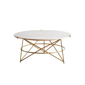 Round Marble Tops Coffee Table Brass Base-4