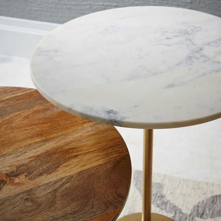 White Marble Round Side Table Brass Base