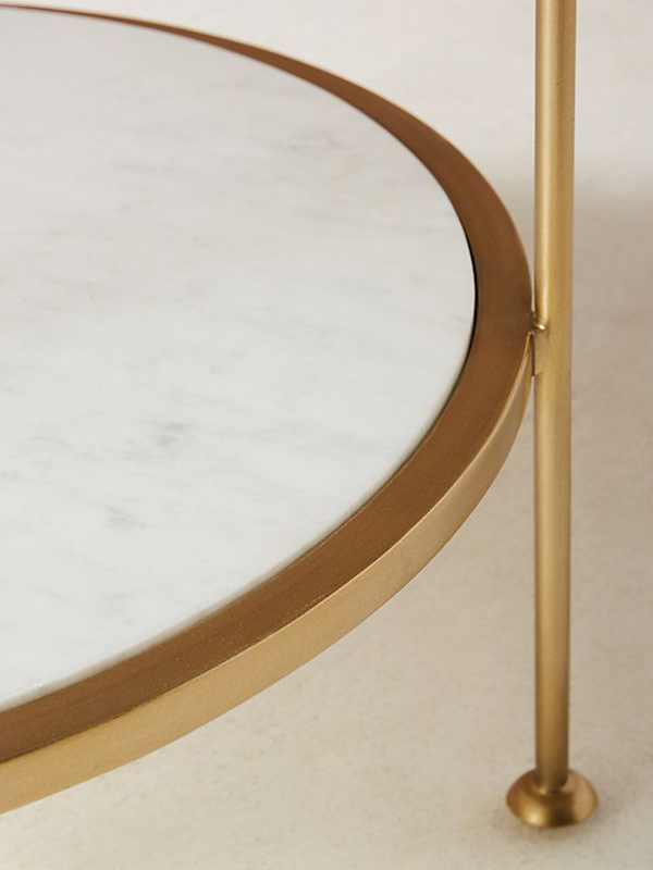 Glass Tabletop Round Marble Coffee Table-4