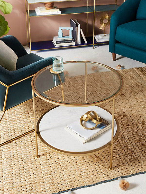 Glass Tabletop Round Marble Coffee Table-5