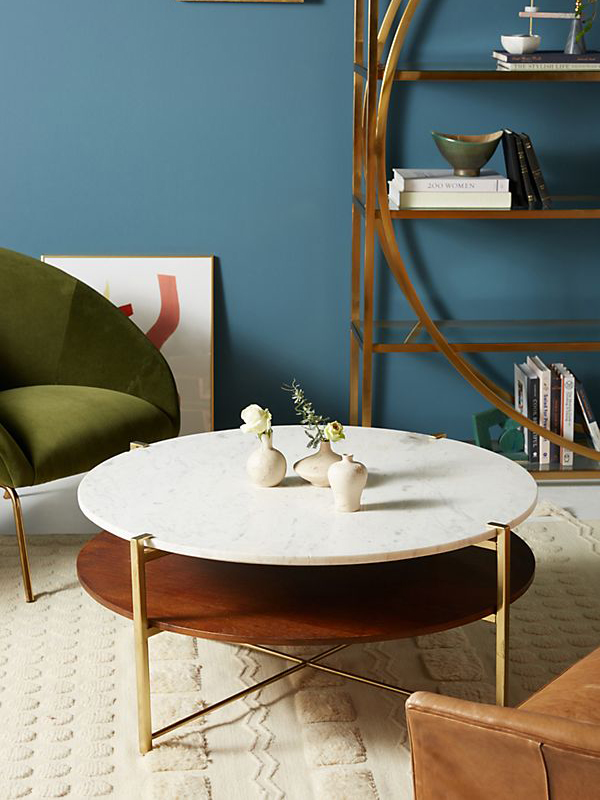 Marble And Oak Wood Top Coffee Table-1