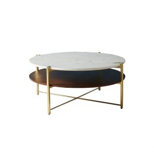 Marble And Oak Wood Top Coffee Table-2