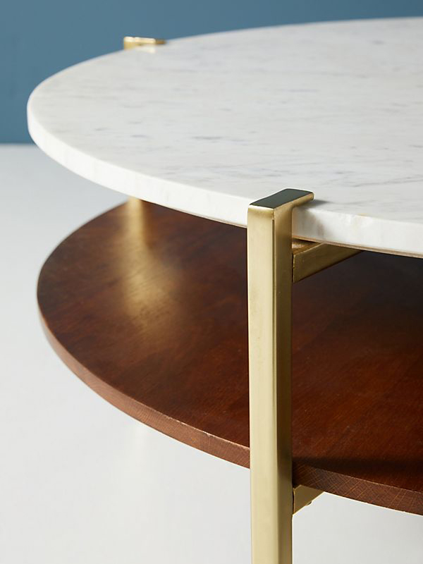 Marble And Oak Wood Top Coffee Table-5