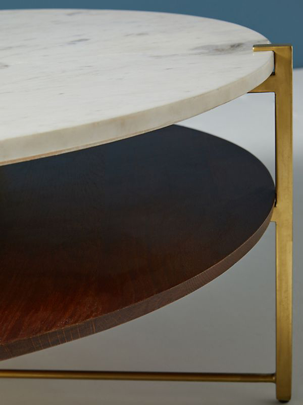 Marble And Oak Wood Top Coffee Table-6