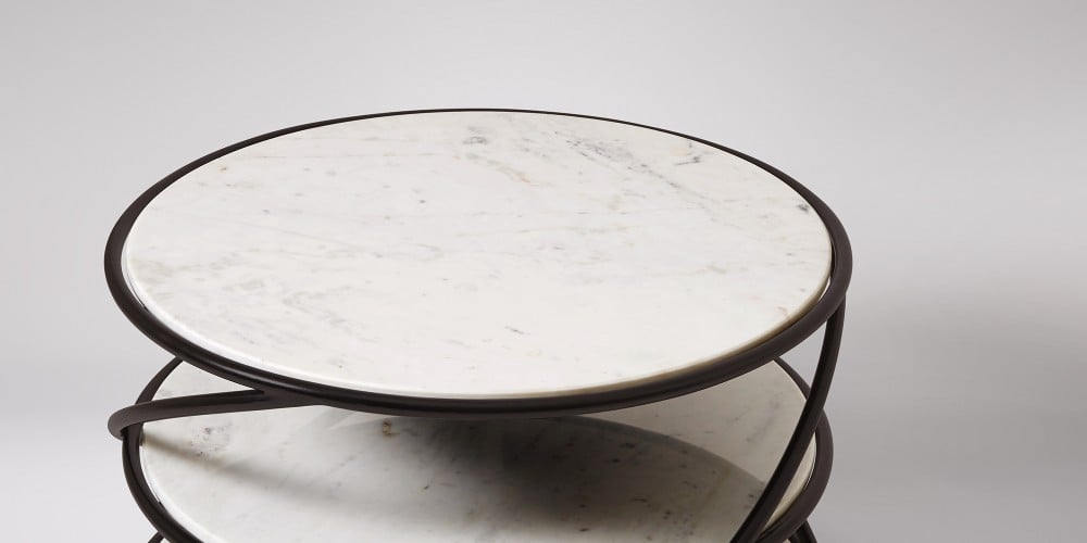 Marble Coffee Table With Black Steel Frame-2