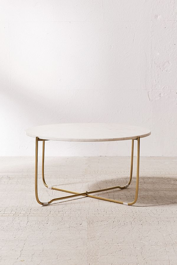 Marble Surface Coffee Table Brass Legs-1