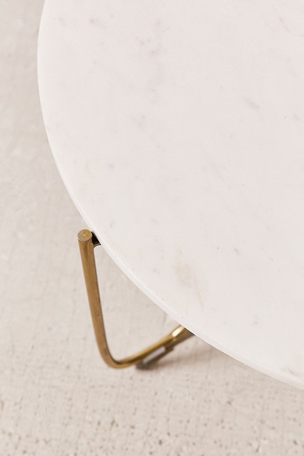 Marble Surface Coffee Table Brass Legs-2