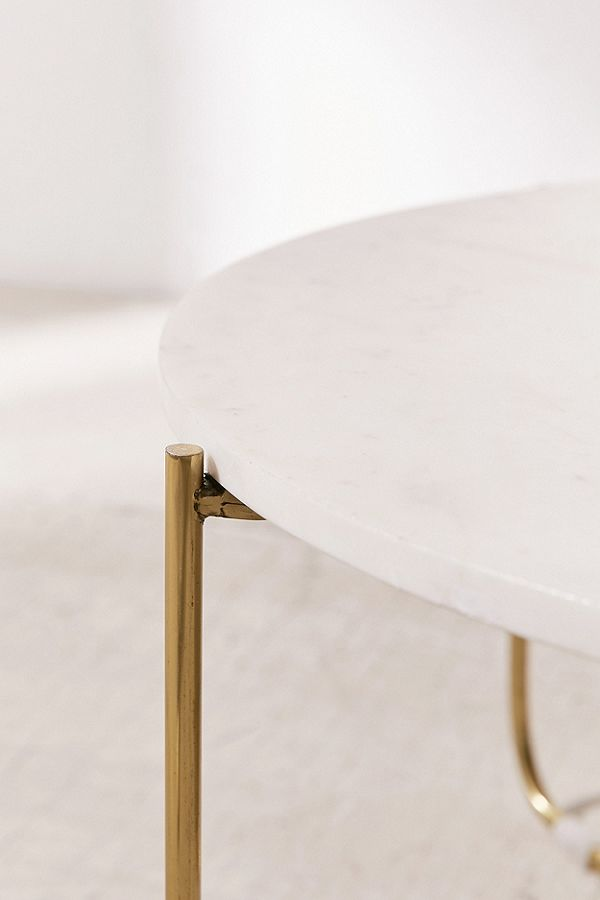 Marble Surface Coffee Table Brass Legs-3