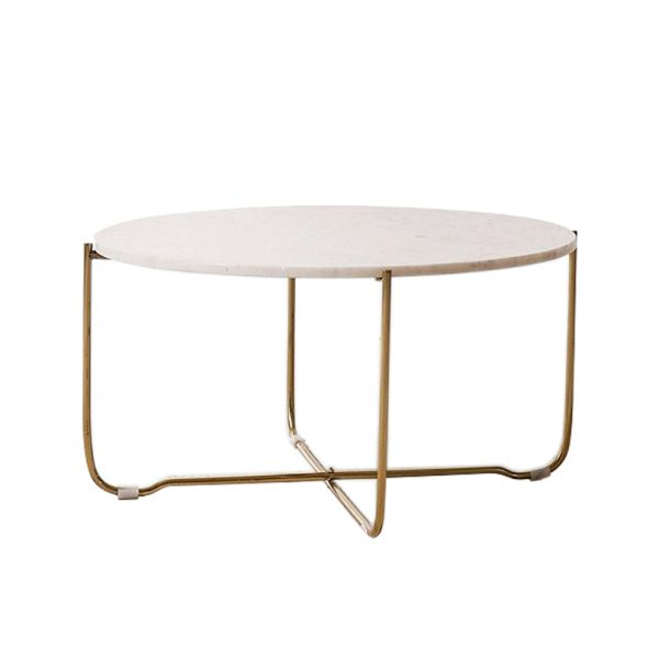 Marble Surface Coffee Table Brass Legs-5