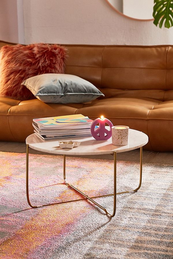 Marble Surface Coffee Table Brass Legs-7